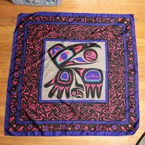 Vintage PNW Jocelyne Mauge Raven Silk Scarf OS